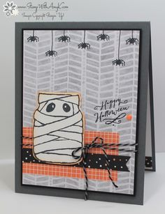 I used the Stampin' Up! Jar of Haunts stamp set from the 2016 Holiday Catalog to create my card for the Happy Stampers blog hop.  We've got a fun color challenge this week that is just perfec…
