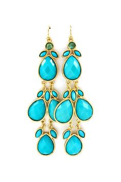 Sadie Earrings in Turquoise. The tropical lagoon colours that Springs often have in their eyes (think Cam Diaz). Jewelry is a fantastic way to intensify eye colour. They're a little plastic, playful, and candy coloured - so appealing on Spring.