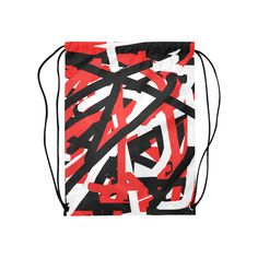 "Red Black and White Graffiti Medium Drawstring Bag Model 1604 (Twin Sides) 13.8""(W) * 18.1""(H).Imagine using this cool black, white and red graffiti art designed drawstring backpack.  It's like wearing art on your back. The matching hooded sweatshirt and/or sneakers are also available for purchase to complete the ensemble.  By celeste@khoncepts.com #blackwhiteandredgraffiti"