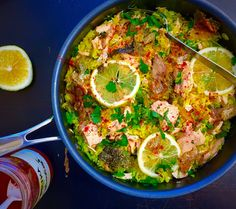Lime and Cilantro: Lemon-scented golden rice and poached salmon