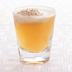 Apple Pie Shooter 1 ounce Clear Creek Eau de Vie de Pomme apple brandy tablespoons) 1 ounce apple cider tablespoons) 1 teaspoon whipped cream Pinch of grated nutmeg Bar Drinks, Cocktail Drinks, Yummy Drinks, Cocktail Recipes, Alcoholic Drinks, Drink Recipes, Fruity Drinks, Fancy Drinks, Halloween Cocktails