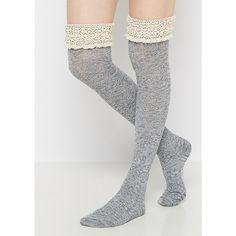 Gray Ruffled & Marled Over-the-Knee Socks ❤ liked on Polyvore featuring intimates, hosiery, socks, grey socks, over the knee socks, frill socks, frilly socks and above knee socks