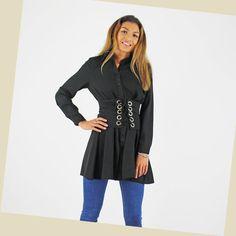 Glamorous Black Long Sleeve Silver Eyelet Corset Belt Shirt Dress   £34.99 *