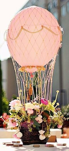 Nonfloral Wedding Centerpieces Fresh 15 Non Floral Centerpieces so Stunning You Won T Miss Flowers Hot Air Balloon Centerpieces, Non Floral Centerpieces, Wedding Table Centerpieces, Balloon Decorations, Floral Arrangements, Wedding Decorations, Centerpiece Ideas, Flower Arrangement, Floral Decorations