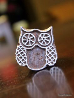 Hand Carved Indian Wood Textile Stamp Block Owl by charancreations, $10.50