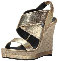 Michael Antonio Womens GereyMet Espadrille Wedge Sandal Gold 9 M US >>> Check this awesome product by going to the link at the image.