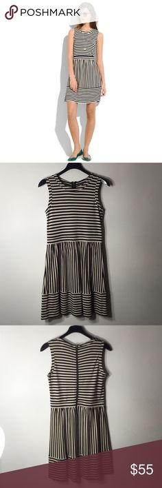 Madewell Striped Duet Dress Nothing to wear? Here is the dress to reach for! Its stripy and super flattering and has just the right amount of stretch. Fitted, full skirt. Fabric: rayon, nylon. Dry clean. Import. Perfect condition. All reasonable offers are welcome! Please make all offers through the offer button Madewell Dresses