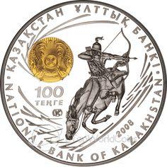 Kazakhstan 2008 100 tenge Chingiz Khan Great military leaders Proof Silver Coin :: Top World Coins