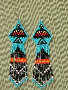 NATIVE AMERICAN Turquoise Eagle Beaded Earrings #beadwork #jewelry #crafts I think I'm gonna try an bead these