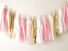 Pink and Gold Tassel Garland - Party Decor, Birthday Party, Wedding Decor, Bridal Party, Nursery Decor, Baby Shower, Gold Decor