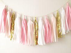 Pinks Peach Blush and Gold Tassel Garland Banner by BlushBazaar - Etsy $29