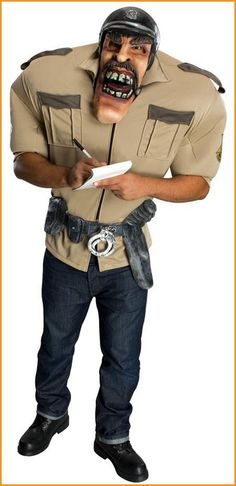 Funny Halloween Costumes Big and Scary Sheriff Adult $47.50 includes: shirt, belt with attached equipment, oversized mask and oversized inflatable shoulders. Nice for couples costumes contests.