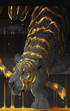 anime animals I know I said Im not here for the tigers, but this ones unusually awesome. And I like two-toned things. Mythical Creatures Art, Fantasy Creatures, Fantasy Kunst, Fantasy Art, Cute Drawings, Animal Drawings, Wolf Drawings, Drawing Animals, Creature Drawings