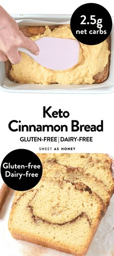 Keto Cinnamon Bread Easy moist keto breakfast bread with fall flavors and gluten free flours: Almond flour, coconut flour, NO cream cheese (100% dairy free and paleo!). A simple fall bread recipe with beautiful cinnamon swirl in the center of the loaf