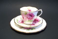 Royal Albert American Beauty Trio Cup Saucer Bread and Butter Plate Pink Roses by okanaganvintage on Etsy