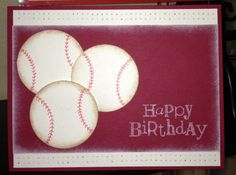 Burgandy and white baseball birthday card