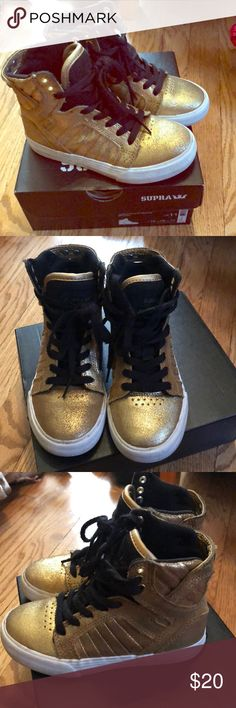 Kids toddler size 11 Gold shoes My son wore these a handful of times size 11 in toddler comes with box smoke free and pet free home Supra Shoes Sneakers