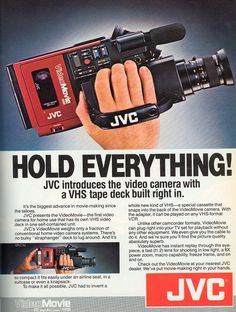 JVC GR-C1: the first home video camera that had the recording mechanism and camera in one unit. Before this time the user would carry a deck on a shoulder strap and the camera in their hands. The JVC GR-C1 set the form factor for camera for years to come. It is also know among movie geeks as the camera Marty uses in the first Back to the Future movie.