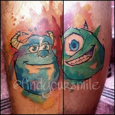 Mike and Sulley watercolor tattoos! Awesome!