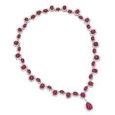 Platinum, 18 Karat Gold, Ruby and Diamond Necklace