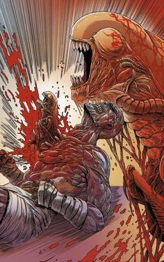An extremely violent chestbursting in Aliens: Dead Orbit #Alien #Aliens #AliensDeadOrbit #Chestbursting #AlienChestbursting #Chestburster