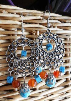 Earrings with carnelian and turquoise, boho style, single copy - Sveta Raskina…