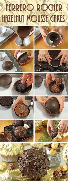 How to Make Giant Ferrero Rocher Hazelnut Mousse Cakes | From SugarHero.com