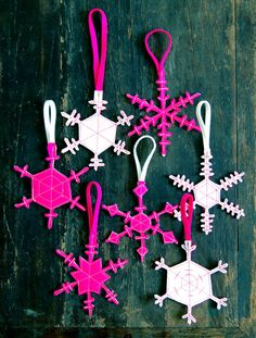 Two Sided Felt Snowflakes by purlbee #Snowflake_Decorations #DIY #purlbee