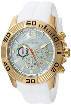 Men's Wrist Watches - Invicta Mens Pro Diver Quartz Stainless Steel and Silicone Casual Watch ColorWhite Model 20296 >>> Click image for more details. (This is an Amazon affiliate link)