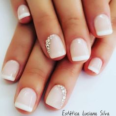 A pop of glimmer for your wedding day in the subtlest way. Nail Art at it's most delicate. wedding nails bridal nails bride manicure nail glitter Source by kldcevents Wedding Manicure, Wedding Nails Design, Nails For Wedding, Weddig Nails, Wedding Acrylic Nails, Wedding Nails For Bride Natural, Nail Art Weddings, Glitter Wedding Nails, Bridal Pedicure