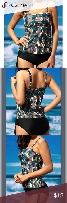 New Tankini Purchased from Rosewe. No tags attached when purchased. Size XXL fits like a 14/16. Padded but no underwire. Adjustable straps. Camo top and black bottom. Last picture is actual item. Rosewe Swim Bikinis