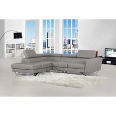 Delia Grey Leather Modern Left Chaise Sectional Sofa Set