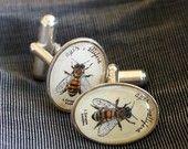 Bee cufflinks - natural history jewelry
