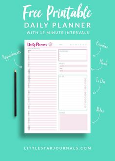A free daily planner printable with 15 minute intervals to help you plan your day or appointments. Also includes a meal planner, to do list, priorities list and a notes section and a pink colour scheme. Practical planners for busy bodies! To Do Lists Printable, Schedule Printable, Printable Planner Pages, Planner Template, Planner Stickers, Free Printables, Free Daily Planner Printables, Calendar Printable, Daily Printable