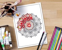 MANDALA COLORING PAGES for adults, adult coloring book page, printable women gift, diy gift, Hindu art