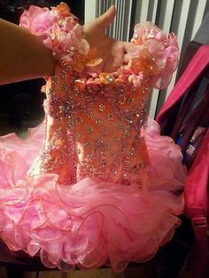 This one has a really pretty back. Glitz Pageant Dresses, Pageant Hair, Toddlers And Tiaras, Pageants, Little Girl Hairstyles, Beauty Queens, Clothing Ideas, Dress Making, Evening Gowns