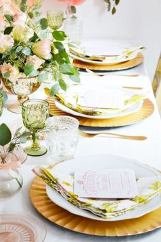 table settings at a floral bridal shower | domino.com