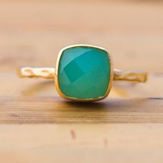 Image of Chrysoprase Ring - Gemstone Ring - Gold Ring - Bezel Ring - Stackable Ring $96.00