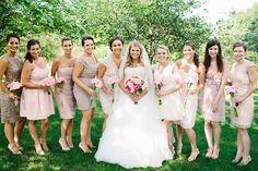 Neutral bridesmaid's dresses