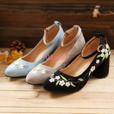 Spring Womens Floral Embroidery Low Topcloth Ethnic Pumps Comfoer Mid Heel Shoes