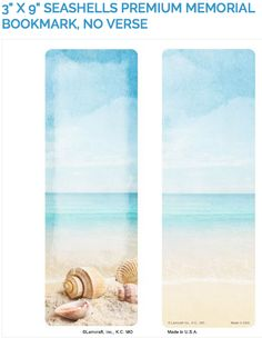 "Create laminated memorial bookmarks with Lamcraft's 3"" x 9"" Seashells Premium Memorial Cards."