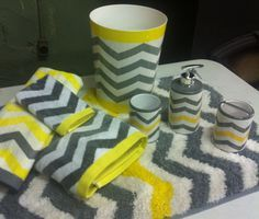 Bathroom Yellow And Gray chevron bathroom decor | chevron bathroom decor, chevron bathroom