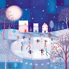 Buy Almanac Night Skating Christmas Cards, Pack of 8 from our Christmas Cards range at John Lewis & Partners. Winter Art Projects, Toddler Art Projects, Easy Art Projects, Christmas Tree Art, Christmas Scenes, Merry Christmas, Xmas, Art Deco Flowers, Charity Christmas Cards