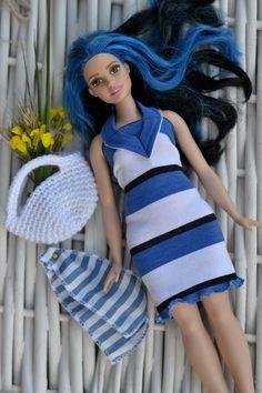 Curvy Barbie set of 3 items: barbie dress bag by KUKLAfashion