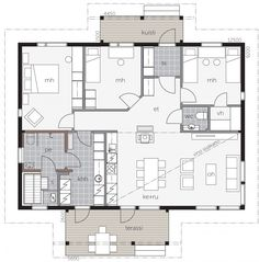 Aavalahti B House Plans, Lego, Sweet Home, Floor Plans, Flooring, How To Plan, Building, Minimalist House, Minimalism