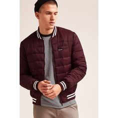 Forever21 Members Only Varsity Down Jacket (3.325 RUB) ❤ liked on Polyvore featuring men's fashion, men's clothing, men's outerwear, men's jackets, burgundy, mens down filled jackets, mens down jacket, mens short sleeve jacket and mens burgundy jacket