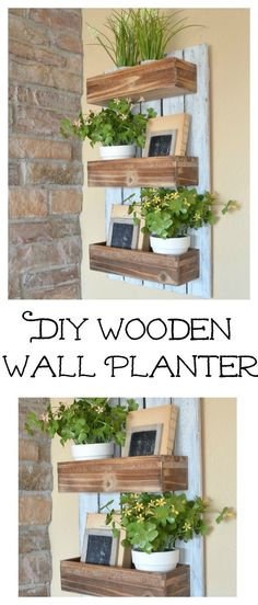 Easy farmhouse house decor for spring flowers and greenery. Garden Wall Planter, Diy Wood Planters, Vertical Wall Planters, Planter Ideas, Succulent Planters, Concrete Planters, Balcony Garden, Hanging Planters, Succulents Garden