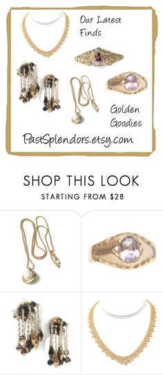 Golden Goodies--Our Latest Finds from PastSplendors by pastsplendors on Polyvore featuring vintage, ring, jewelry, necklace and brooch