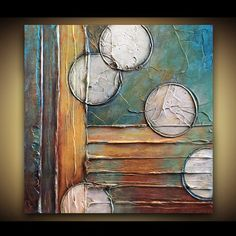 Original Abstract Painting - TEXTURED Original Abstract Art - Shades of Turquoise Brown Rust Green Amber Gold - by Marie Bretz on Etsy, $99.00