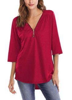 pipigo Womens Summer Flare Sleeve Blouse Top Lace V Neck T-Shirts